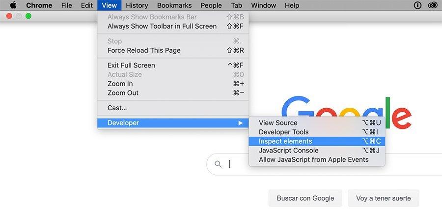 Inspector del navegador web Chrome
