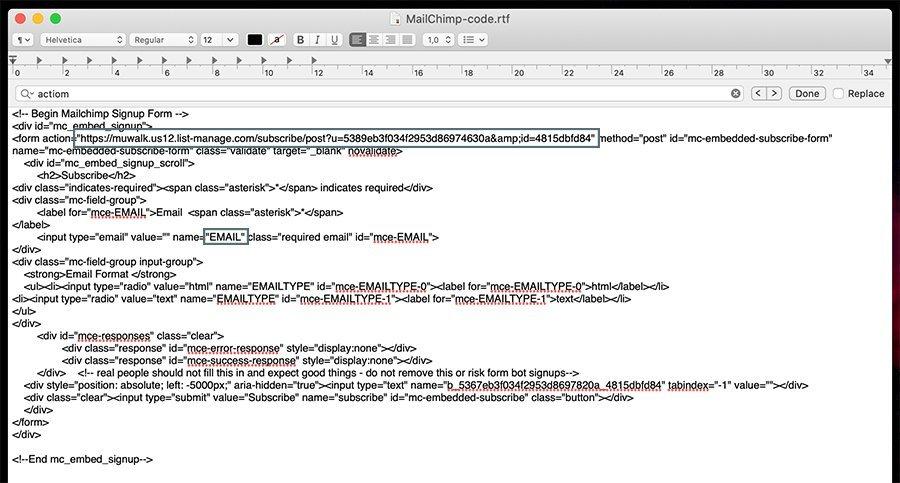 código HMTL de MailChimp