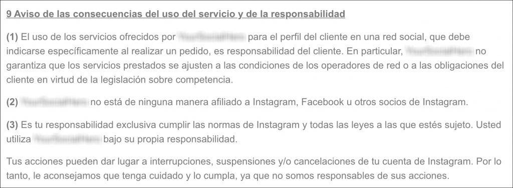 Primer ejemplo de condiciones de servicios externos a Instagram