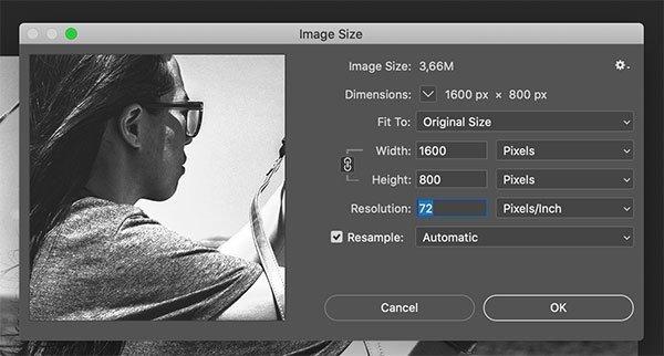 Opciones de tamaño y resolución de la imagen en Adobe Photoshop.