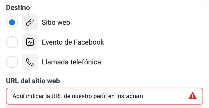Indicar la URL de nuestro perfil en Instagram